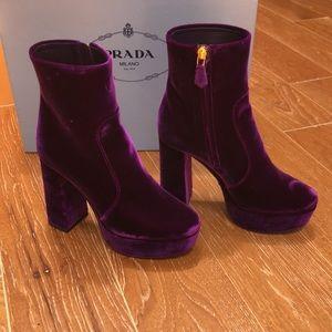 Prada Velvet 115 Magenta Platform Ankel Boots - 6